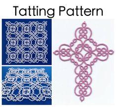 PDF Tatting Pattern: Garden Cross and Square