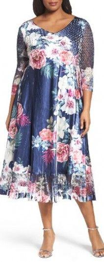 Plus Size Women's Komarov Floral Charmeuse & Chiffon Dress