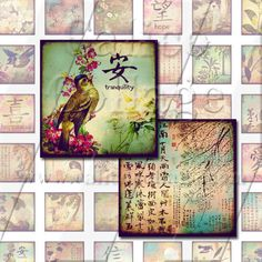 NEW Oriental Ephemera  Digital Collage Sheet  1x1 by calicocollage, $3.75