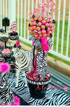 zebra print with Lollipop topiary - tween party