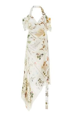Draped Printed Linen-Silk Halter Dress by MONSE Now Available on Moda Operandi Tulle Gown, Chiffon Maxi Dress, Handkerchief Dress, Printed Linen, Ladies Dress Design, Designer Dresses, Designer Clothing, Women's Clothing, Luxury Fashion