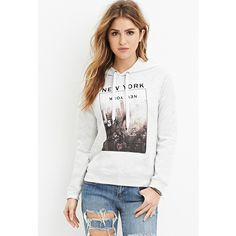 Forever 21 Forever 21 Women's  New York Graphic Hoodie ($18) ❤ liked on Polyvore featuring tops, hoodies, hooded sweatshirt, forever 21 hoodie, light weight hoodie, forever 21 hoodies and white hooded sweatshirt