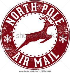 North Pole Air Mail Christmas Santa Stamp - stock vector