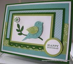 Happy Birthday card using the Stampin' Up! Bird Builder punch (117191). Order Online: essentials.stampinup.net