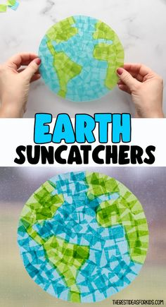 Earth Suncatchers - make these Earth suncatchers for Earth day! An easy kids activity with free printable template on the post! Easy Crafts For Kids, Craft Activities For Kids, Summer Crafts, Toddler Crafts, Creative Crafts, Art For Kids, Craft Ideas, Art Classroom, Classroom Ideas