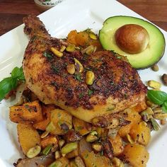Pistachio roasted chicken with butternut squash and sweet potatoes.