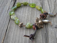 Natural Tumbled Peridot Knotted Waxed Linen by DeetabyDesign, $65.00