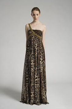 Cleopatra's Closet - Notte by Marchesa, Fall 2009 Collection - Empire chiffon gown with gold embroidered strap