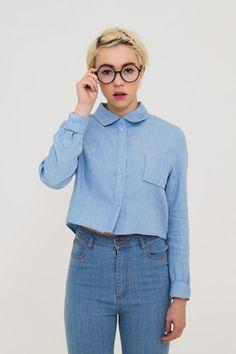 Long Sleeve Crop Shirt Denim - THE WHITEPEPPER