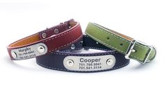 Laser Engraved Personalized NamePlate Italian Leather Dog Collar by LaserPets on Etsy https://www.etsy.com/listing/162825040/laser-engraved-personalized-nameplate