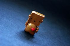 Box Head Robot Polymer Clay Miniature Sculpture Gold by Cyclop, $12.50