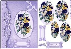 Perfect Pansies Pyramid Card Front on Craftsuprint designed by Karen Adair - This is an A5 sized card front with perfect Pansies taking centre stage. Pyramid layers will add depth and dimension to your finished card. Pretty sentiment panels also included, one left blank for you to personalise if you wish. If you like this check out my other designs, just click on my name. - Now available for download!