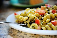 One of my favorite recipes--can't wait for summer and fresh basil! Creamy Pesto Pasta