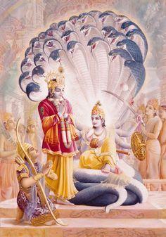 Arjuna, Krishna, and Maha Vishnu.