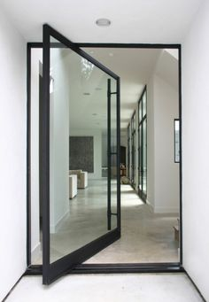 glass pivot with black frame