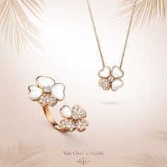 Enjoy summertime with these delicate flowers from the Van Cleef & Arpels Cosmos Collection. The harmonious combination of white mother-of-pearl and diamonds expresses the poetry of stones.