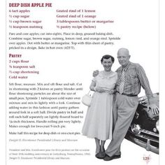 Enjoy Apple Pie? Whip up #FLOTUS Mamie Eisenhower's Deep Dish Apple Pie. YUM!   Photo via the Library of Congress.  #ApplePie #Pie #Recipes #USHistory #FirstLady  #applepie #Eisenhower #NationalApplePieDay #Pie #Pies #dessert #sweets #bakery #treats #ancestry #familyhistory #history