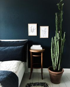 my scandinavian home: dark blue walls in the a Danish bedroom.