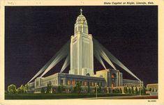 Lincoln Nebraska State Capitol at Night Vintage Postcard 1938 Nebraska State, Lincoln Nebraska, Nyc Skyline, Round Corner, Vintage Postcards, Empire State Building, Wonderful Images, Photo Mugs, Online Printing