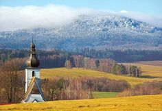 The church of St.Gilles in Rychnov at Nové Hrady and hills of Novohradské mountains (South Bohemia), Czech Republic Prague, Europe Photos, European Countries, Old City, Czech Republic, Nature Photos, Places To Go, Travel Photography, Mountains
