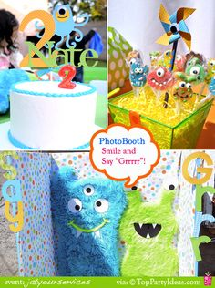 lil monster Birthday Party  - Photobooth, Centerpiece and Lil' Monster Cake - Ky 4th Birthday