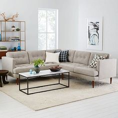West Elm offers modern furniture and home decor featuring inspiring designs and colors. Create a stylish space with home accessories from West Elm. Living Room Sectional, Home Living Room, Apartment Living, Living Room Furniture, Home Furniture, Modern Sectional, Tufted Sectional, Sofa Design, Interior Design