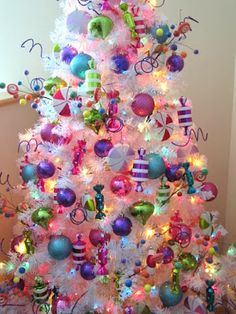 Sew Many Ways Christmas home tour 2013 Rainbow Christmas Tree, Candy Land Christmas, Whimsical Christmas Trees, Whoville Christmas, White Christmas Trees, Candy Christmas Decorations, Christmas Tree Themes, Pink Christmas, Simple Christmas