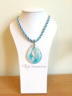 Handmade Aqua Blue White Teardrop Pendant by TreasuresByTilly