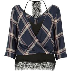 River Island Navy checked layered wrap blouse ($30) ❤ liked on Polyvore featuring tops, blouses, shirts, long sleeve tops, navy, women, navy blue long sleeve shirt, v-neck shirt, lightweight long sleeve shirt and wrap blouse