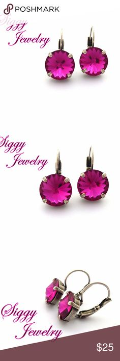 Swarovski Crystal 12mm Fuchsia Drop Earrings These are bright and vivid fuchsia earrings created with 12mm genuine Swarovski crystals. They are brilliant and full of sparkle. The stones are secured within a four pronged setting in antique silver.  They are  also available in other popular finishes. Gift packaging is included. Siggy Jewelry, launched in 2012 has become a well known brand sold world wide with thousands of happy customers and glowing five star reviews. Please message me with…