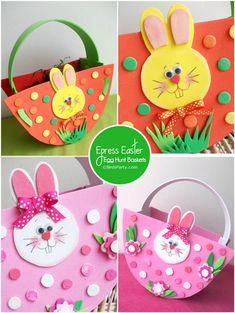 NO-Sew, Express Baskets for your Easter Egg Hunt with FREE Printable Pattern - Easter Crafts Easter Basket Template, Easter Arts And Crafts, Pink Candles, Crafts For Kids To Make, Kids Crafts, Bunny Crafts, Egg Hunt, Easter Baskets, Preschool Crafts