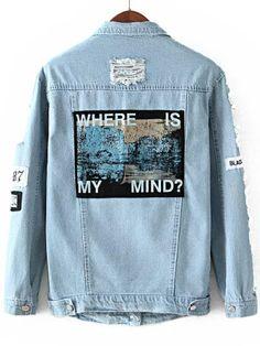 veste en Denim déchiré vintage -bleu 28.12