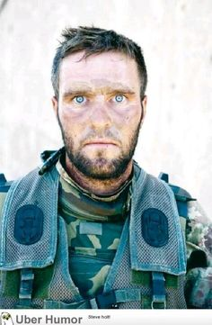 Thousand yard stare after a 72 hour long firefight. You can't fake that pain.