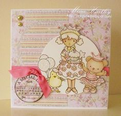 Birthday card by Mina (Design Team) Whimsy and Stars Studio, rubber stamps and digital stamps.