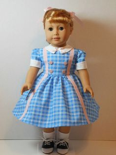 From 2015 - 1950s School Dress Inspired by a Vintage Pattern made using a K&R Vintage Doll Pattern