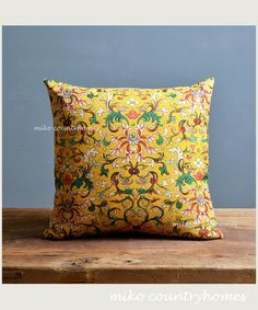 "$15 | Chinoiserie Yellow Floral Art Motif | Decorative Throw Pillow Cover | 45x45cm 18""x18"" #chinoiserie #homedecor #throwpillows #pillowcover #floralmotifs"
