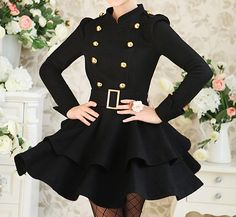 Vintage Stand Collar Buttons Embellished Long Sleeve Ruffles Women's Dress (BLACK,M) | Sammydress.com