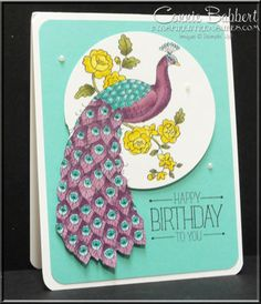 Now that the retirement lists will be out next week, I start thinking about stamp sets that I haven't used as much as I planned! I used Perfect Peacock for one of my Blendabilities classes a… Perfect Peacock, Bee Cards, Butterfly Cards, Animal Cards, Mothers Day Cards, Card Maker, Stamp Sets, Homemade Cards, Stampin Up Cards