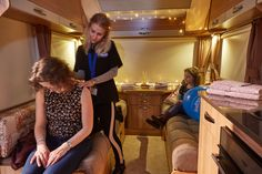 A visitor to the Bailey of Bristol stand receives a relaxing shoulder massage inside the Bailey Boutique. Shoulder Massage, Prom Dresses, Formal Dresses, Bristol, Boutique, Fun, Fashion, Moda, Formal Gowns