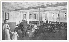 Third class general room served as a lounge, a nursery and a recreational area. The General Room was finished in white enameled pine and fitted with slat-seated benches and teak chairs. The walls were brightened with posters advertising White Star's vessels and ports of call. Third class male passengers onboard the Titanic had access to a smoking room, similar to the general room but with its own bar, and spittoons for those who chewed tobacco.