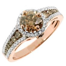 Champagne Diamond Halo Engagement Ring Rose Gold