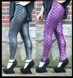 Mermaid Fish Scale Women's Spandex Leggings by ZombieNinjaCouture, $40.00