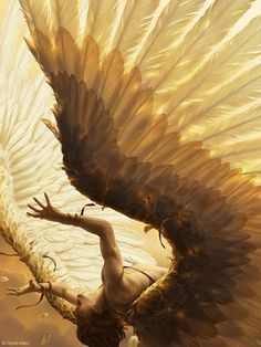 "René Milot digital artwork; ""The Fall of Icarus"""