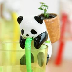 Basil Backpacking Panda Planter and more Cool Gifts at Perpetual Kid. This lovable Panda carries a straw in his mouth, a basil herb garden in his backpack and Water Plants, Potted Plants, Self Watering Plants, Watering Cans, Basil Plant, Cute Panda, Irrigation, Growing Plants, Cool Gifts