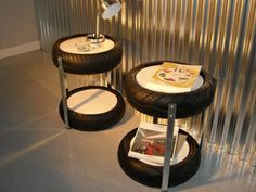 38 Easy DIY Recycle Old Tire Furniture Projects for Home Decor Tire Furniture, Garage Furniture, Furniture Projects, Tyres Recycle, Diy Recycle, Waiting Room Design, Cool Light Fixtures, Recycled House, Do It Yourself Furniture