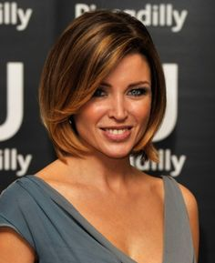 This short bob features so much dimension with caramel balayage highlights.