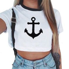 032de5458dc2d7 Awaytr Women Summer Anchor Printed Crop Top 2017 Short Sleeve Cotton T  Shirts Brand New Casual Tees Cute Cropped Top