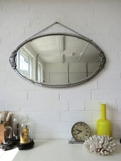 Vintage Large Oval Art Deco Bevelled Edge Wall Mirror by uulipolli