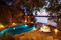 Tongabezi is a luxury lodge near Victoria Falls on the banks of the Zambezi River.