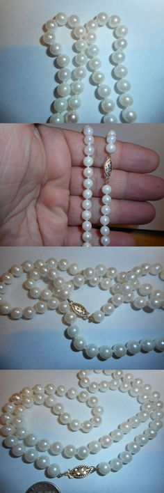 Necklaces and Pendants 165042: 14K White High Quality Round 6Mm Akoya Salt Water Pearl Vintage Necklace Mint -> BUY IT NOW ONLY: $149.99 on eBay!